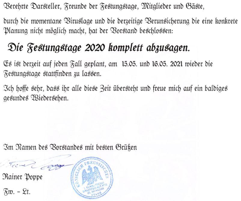 Absage Festungstage 2020